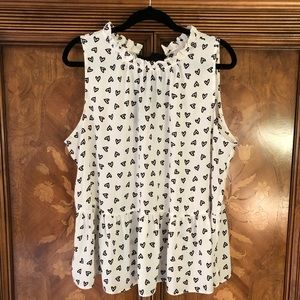 LOFT sleeveless heart print peplum shirt XL